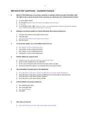 Business Finance - Previous Test Questions V