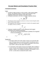 Circular Motion and Gravitation Practice Sets