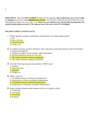 Health analysis worksheet with solutions