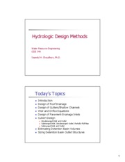 CEIE 340 Lecture 8 Hydrologic Design Methods