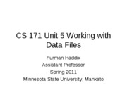 CS 171 Unit 5 Working with Data Files