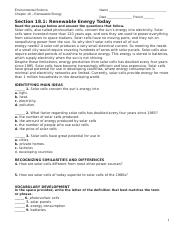 3 Answer Key SECTION 181 RENEWABLE ENERGY TODAY 1 c 2 b 3 d 4 They ...