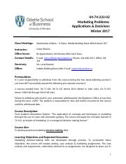 Marketing Problems Applications and Decisions, Winter 2017, 04-74-232-02 Course Syllabus, Celso Oliv