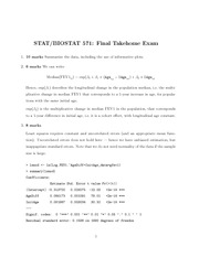 Final Exam Solution on Regression Models for Dependent Data
