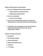 Bowen Family Systems Therapy Notes