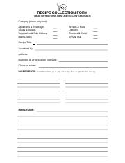 Cookbook Recipe Collection Form & Instructions.doc