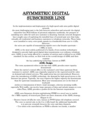 ASYMMETRIC DIGITAL SUBSCRIBER LINE