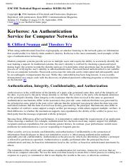 5. Kerberos An Authentication Service for Computer Networks.