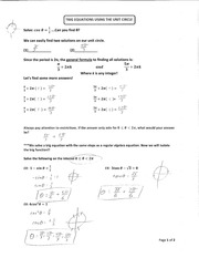 Trig Equations With Unit Circle Notes