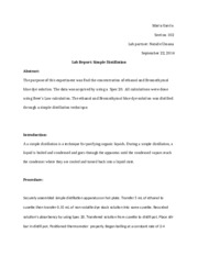 Simple Distillation - Lab Report 2