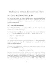 MA Lecture 23 - Linear Transformations 1