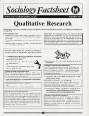 Qualititative Research