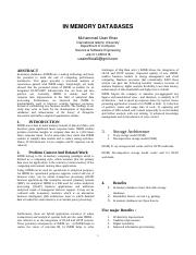 In-Memory Databases Survey Paper.doc