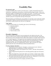 Feasibility Plan Outline - Good
