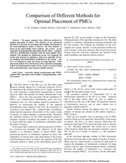 Comparison of different methods for optimal placement of PMUs