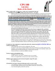 2012 Fall - CPS 100 Rules of the Road (RotR)