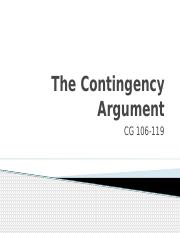 Week 11 The Contingency Argument