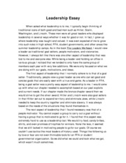 Leadership Essays Examples About