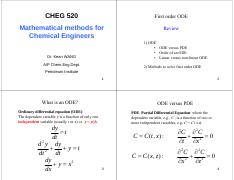 CHEG520 Part 1 First order ODE