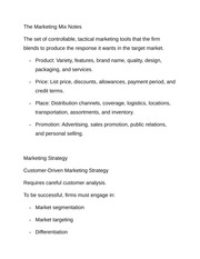 The Marketing Mix Notes