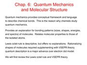 Quantum Mechanics and Molecular Structure