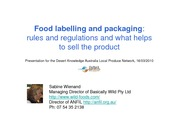 Food labelling and packaging