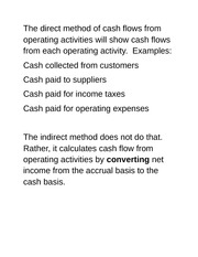 Week 5- THE STATEMENT OF CASH FLOWS