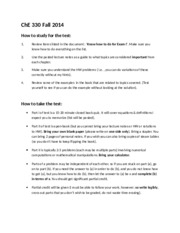 ChE 330 Fall 2014 How to study for and take exams