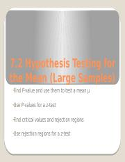 7_2 Hypothesis Testing for the Mean (Large Samples)