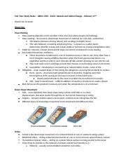 Test Two- Study Notes – GEOG 1350 – Earth- Hazards and Global Change – March 7th