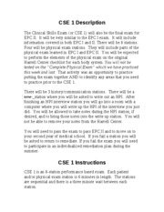 What you need to know about CSE 1