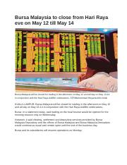 Bursa Malaysia to close from Hari Raya eve on May 12 till May 14.docx