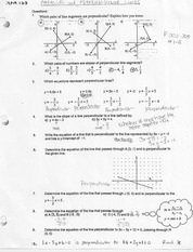 Parallel And Perpendicular Lines Homework Solutions
