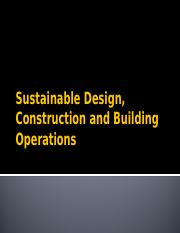 Sustainable Design Construction & Building Operations