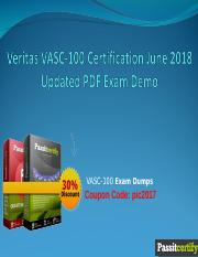 Veritas VASC-100 Certification June 2018 Updated PDF Exam Demo.ppt