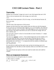 CSCI 240 - Assignment statements; control structures; symbolic constants; formatting output - Class