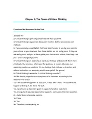Chapter 1 Answers - power of critical thinking