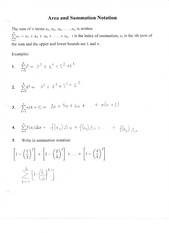 Area and summations Notation Notes
