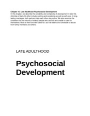Chapter 15 Late Adulthood and Psychosocial Development