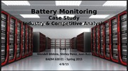 Team 1 - Battery Monitoring - Industry and Competitive Analysis