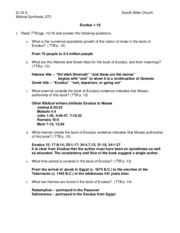 06-Exodus 1-18 Worksheet Answers