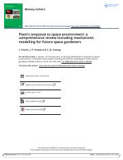 Plant s response to space environment a comprehensive review including mechanistic modelling for fut