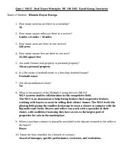Quiz 1  MSJC  RE 140 (Answered& turned in)