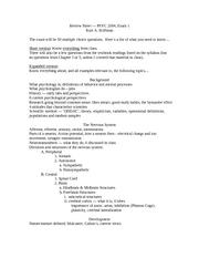 Exam 1 Review Sheet 2008