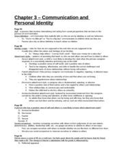 Study Guide - Chapter 3 - Communication and Personal Identity