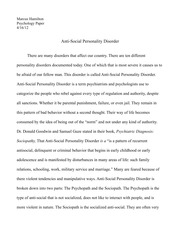Research paper on Antisocial personality Disorder