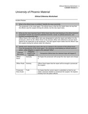 ethical dilemma worksheet corrections Individual ethical dilemma worksheet: corrections complete the blank university of phoenix material: ethical dilemma worksheet by referring to the university of phoenix material: corrections scenario, located on the student website.