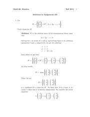 MATH 60 Fall 2014 Assignment 9 Solutions