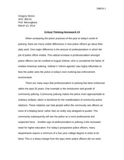Police and Society Critical Thinking HW 3