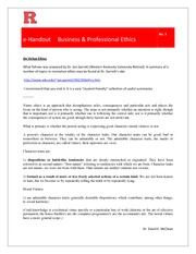 eHandout 3 - On Virtue Ethics